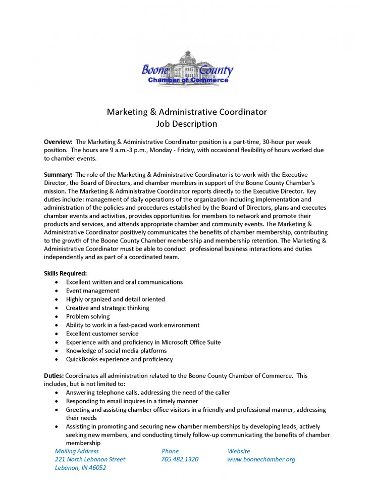 the boone county chamber of commerce is hiring a marketing administrative coordinator